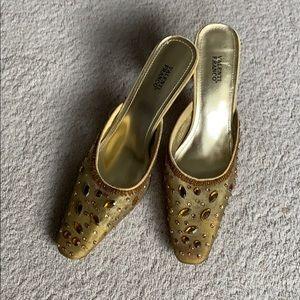Valenti Franco gold slide on heels